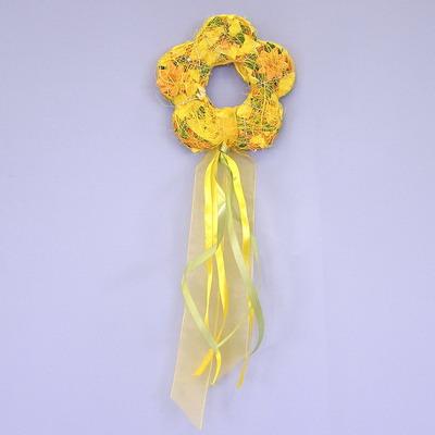 Věnec kytka polystyrén/sisal/organza 15cm žlutá