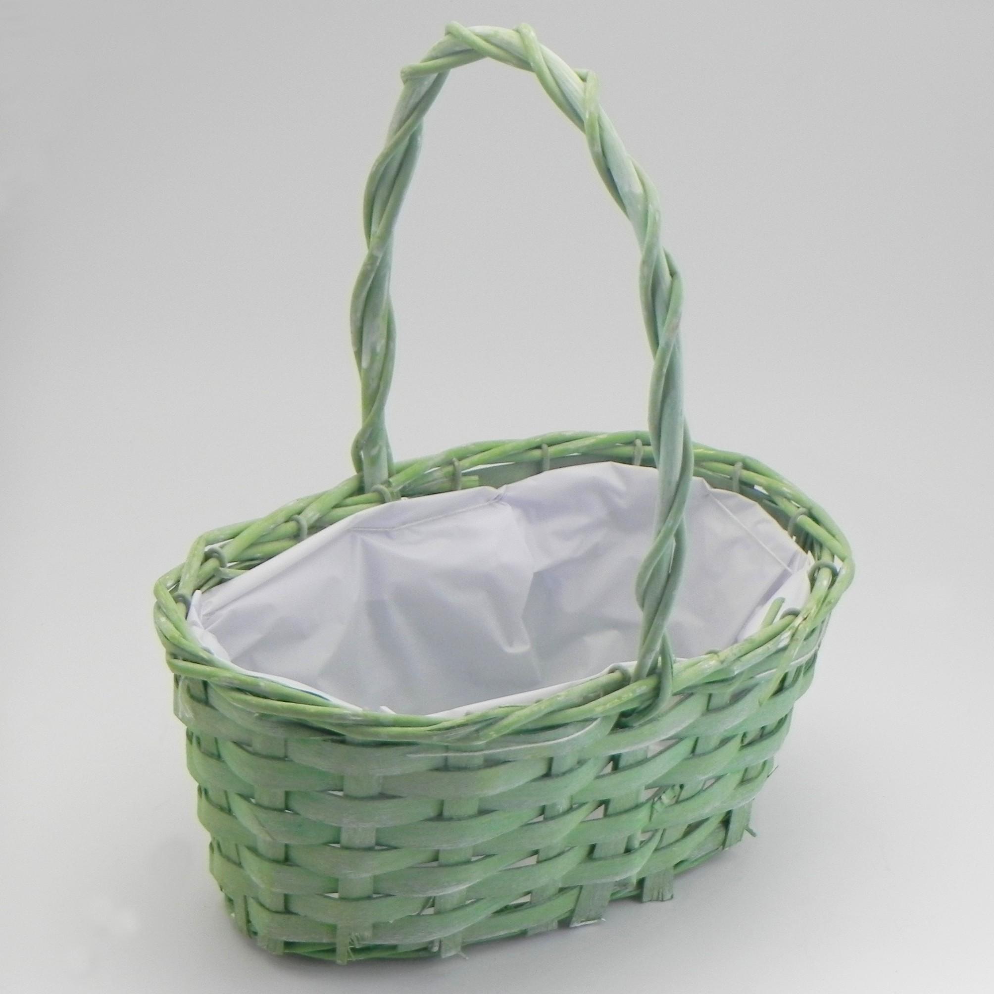 Košík ovál proutí zelená