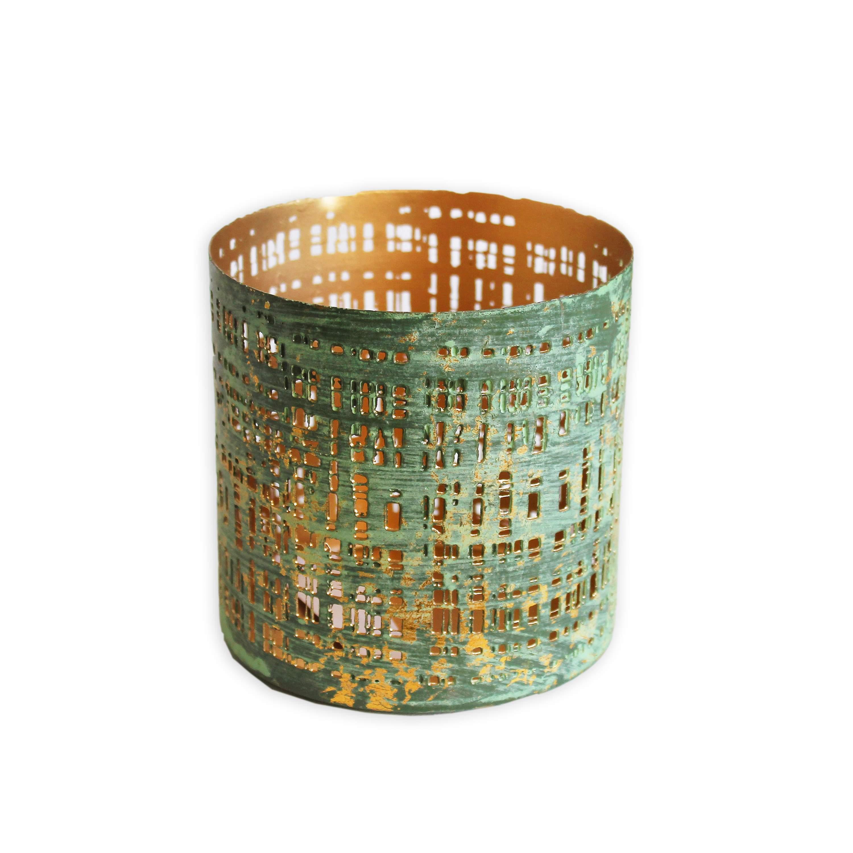 Svícen kov 8x8cm zelený (45988A-8159)