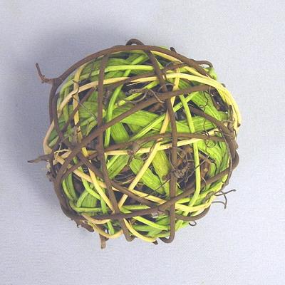 Koule ratan 8ks/7cm žíhaná zelená/hnědá