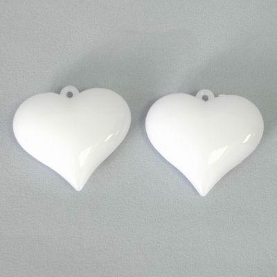 Srdce acryl přízdoba 2ks/6cm bílá