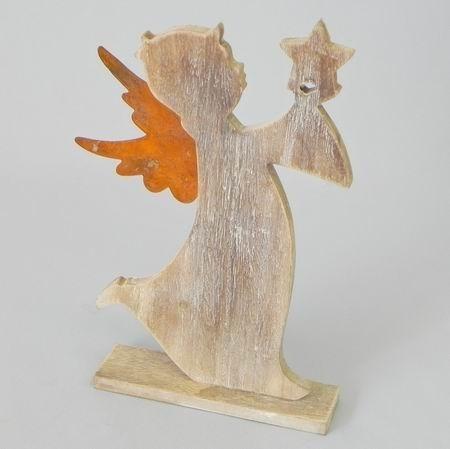 Anděl stojící dřevo/plech 18,5x4x27,5cm hnědá