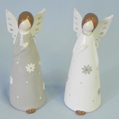 Anděl stojící keramika mix