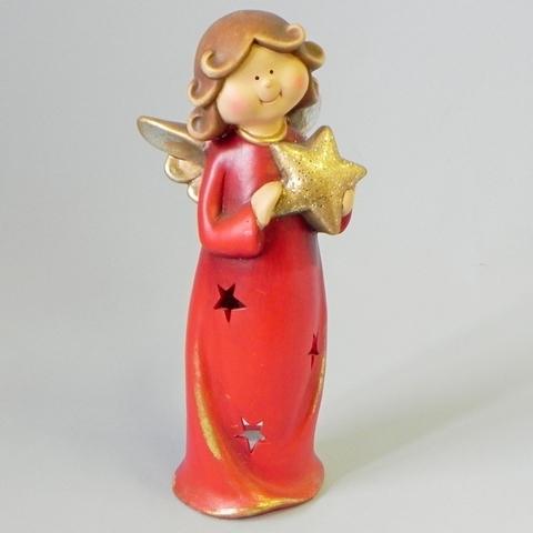 Anděl svíčník keramika červená