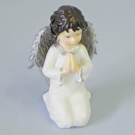 Anděl keramika 14cm šedobílá