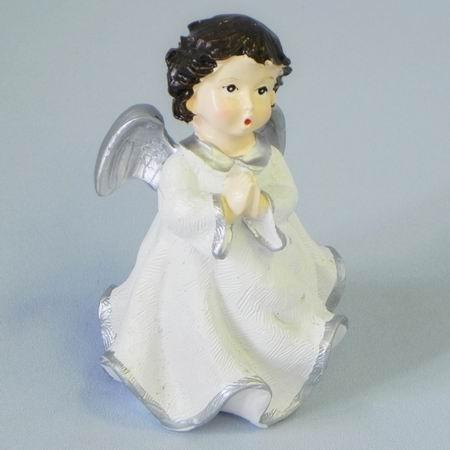 Anděl keramika 9x8x12cm šedobílá