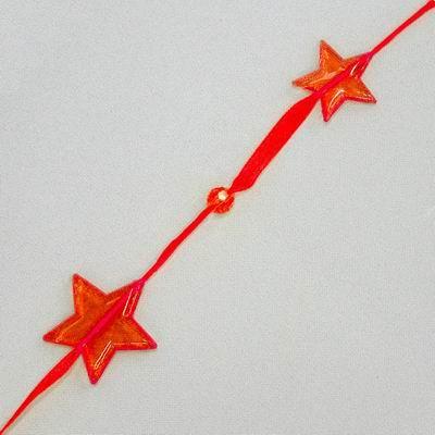 Hvězdy girlanda pvc/organza 180x4cm červená
