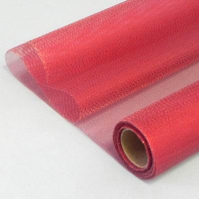 20 Organza metalic š36cm/5m červená