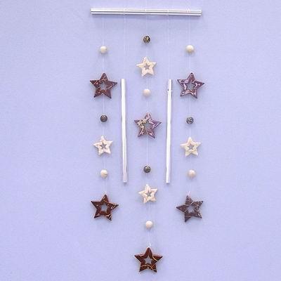 Hvězdy zvonkohra pvc/kov 48x15cm krémová