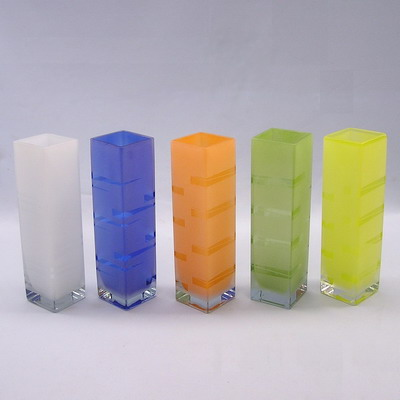 Váza sklo 26cm modrá