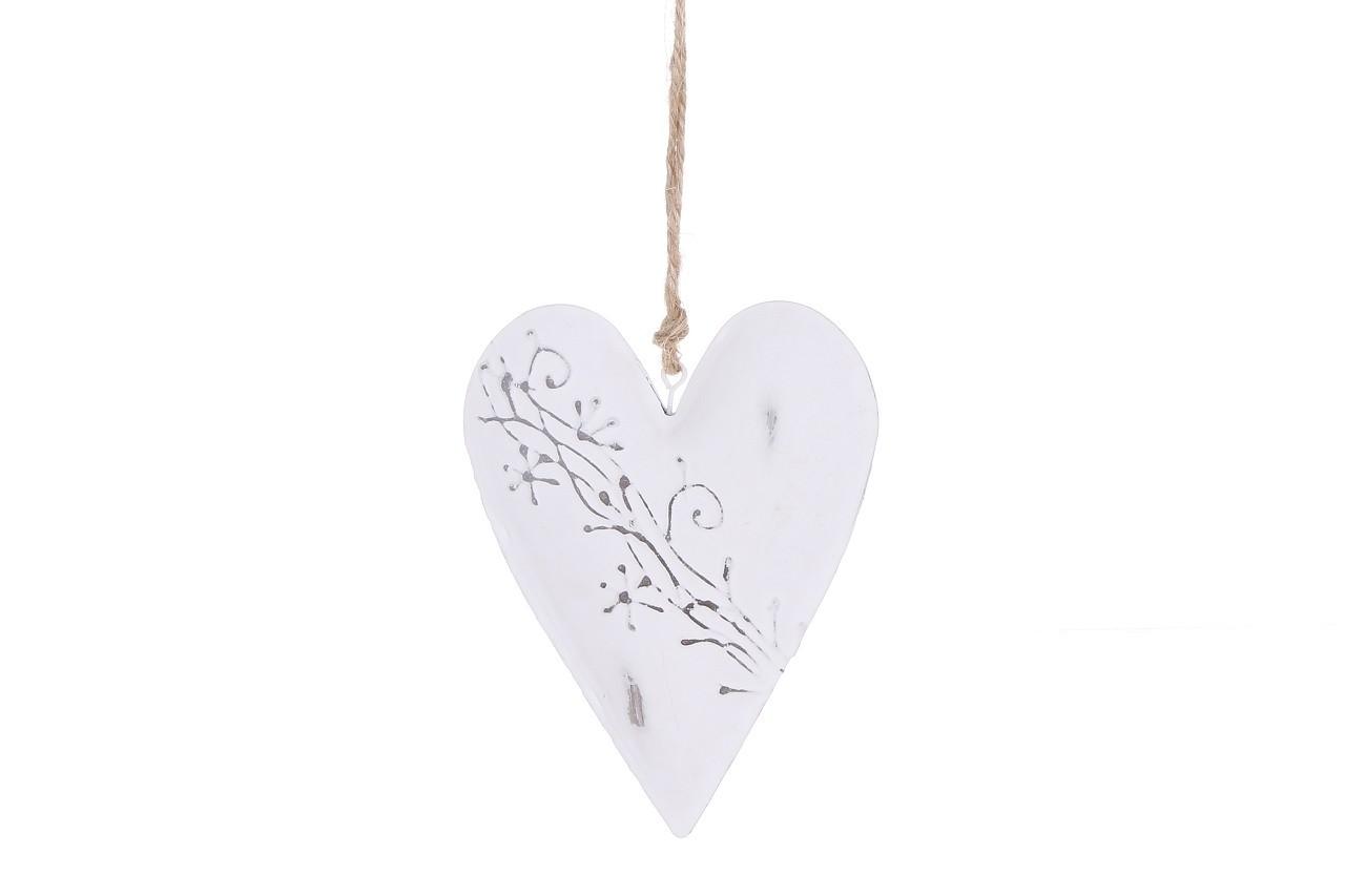 Závěsná dekorace srdce reliéf 14 cm