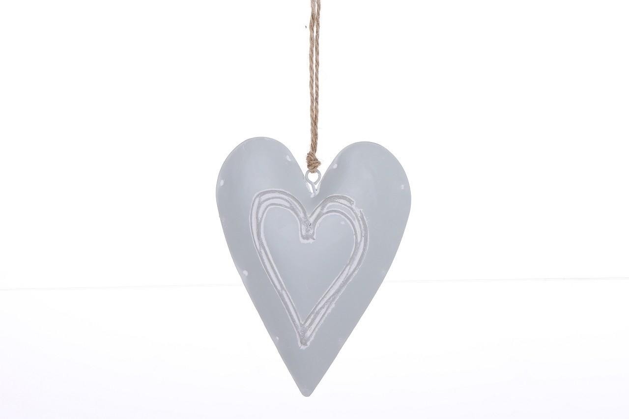 Závěsná dekorace srdce šedé