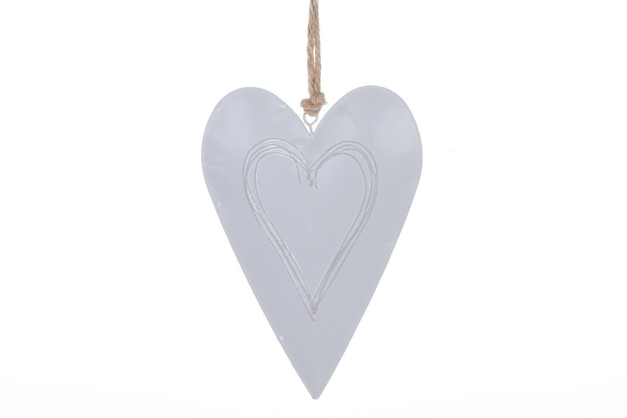 Závěsná dekorace srdce šedé 20,5 cm