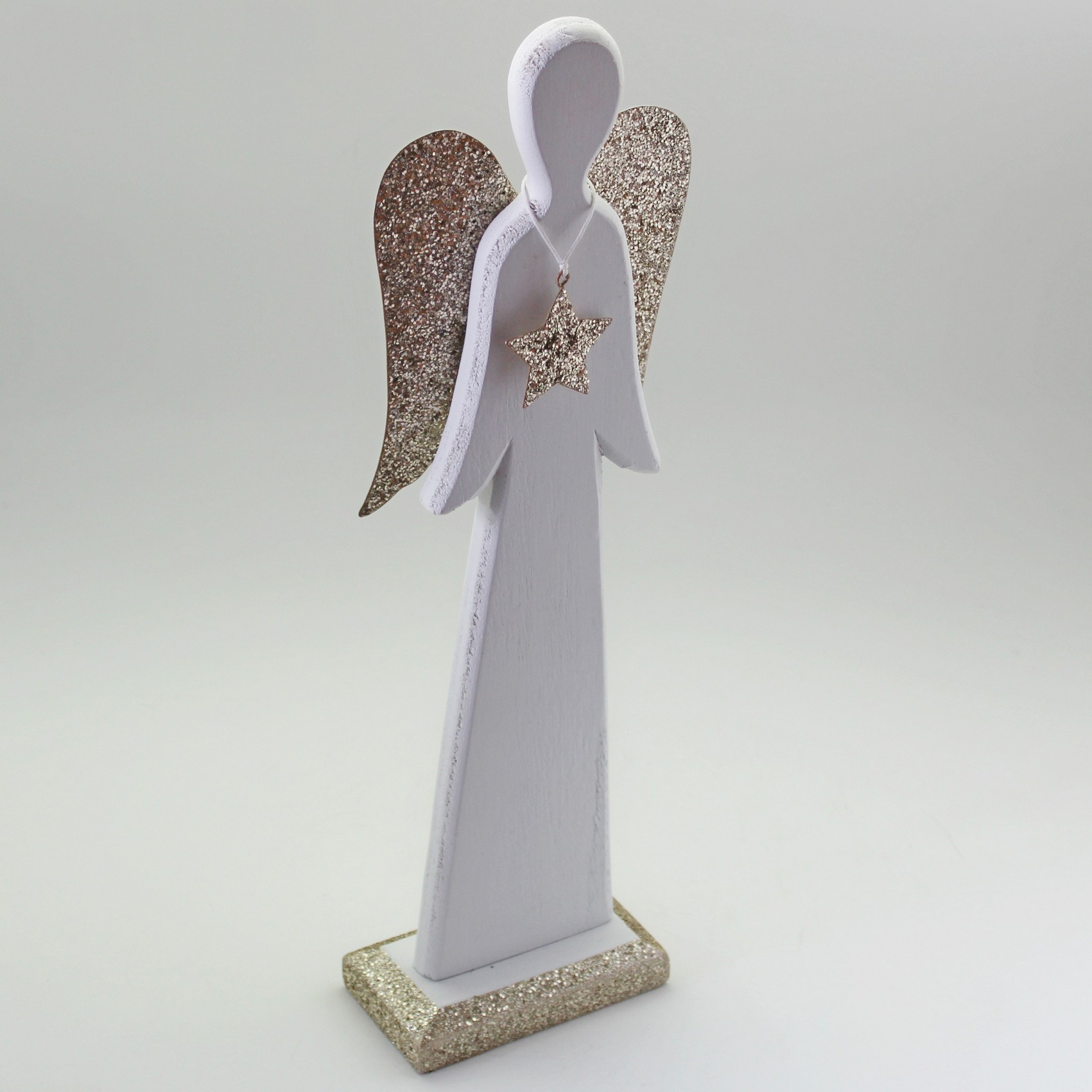 Anděl dřevo 38cm bílá/zlatá
