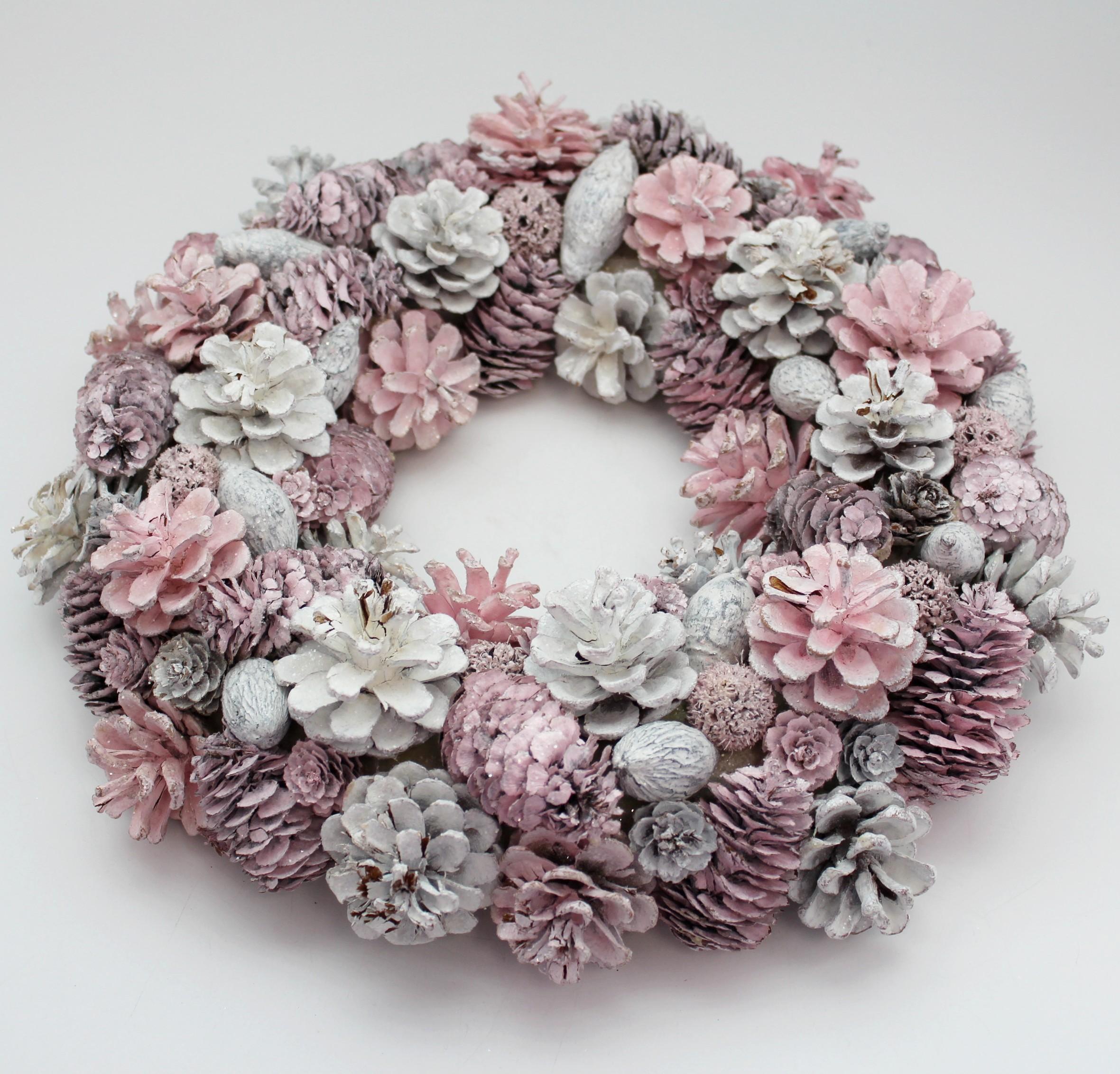 Kruh šišky 35cm růžová/bílá