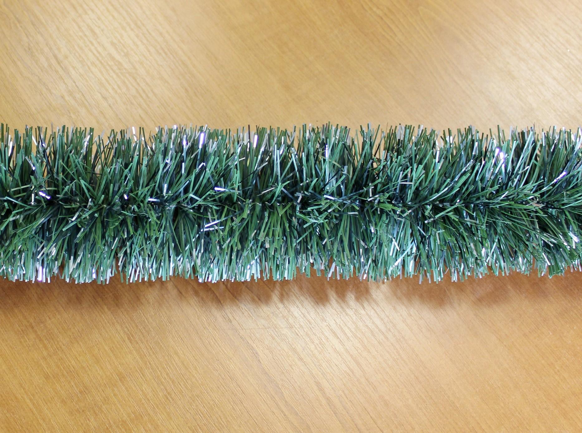 Řetěz vánoce 10cm/6m zeleno-stříbrná