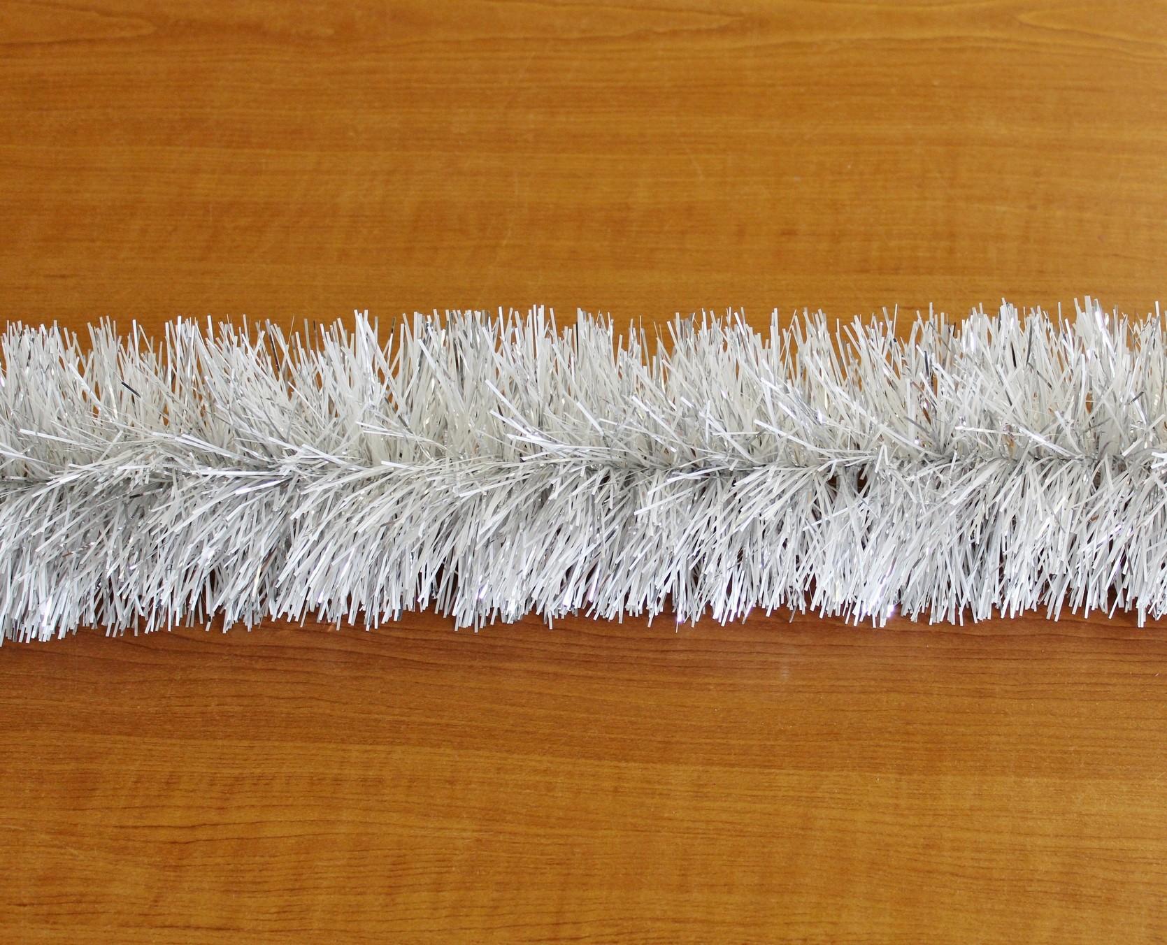 Řetěz vánoce 15cm/6m bílo/stříbrný