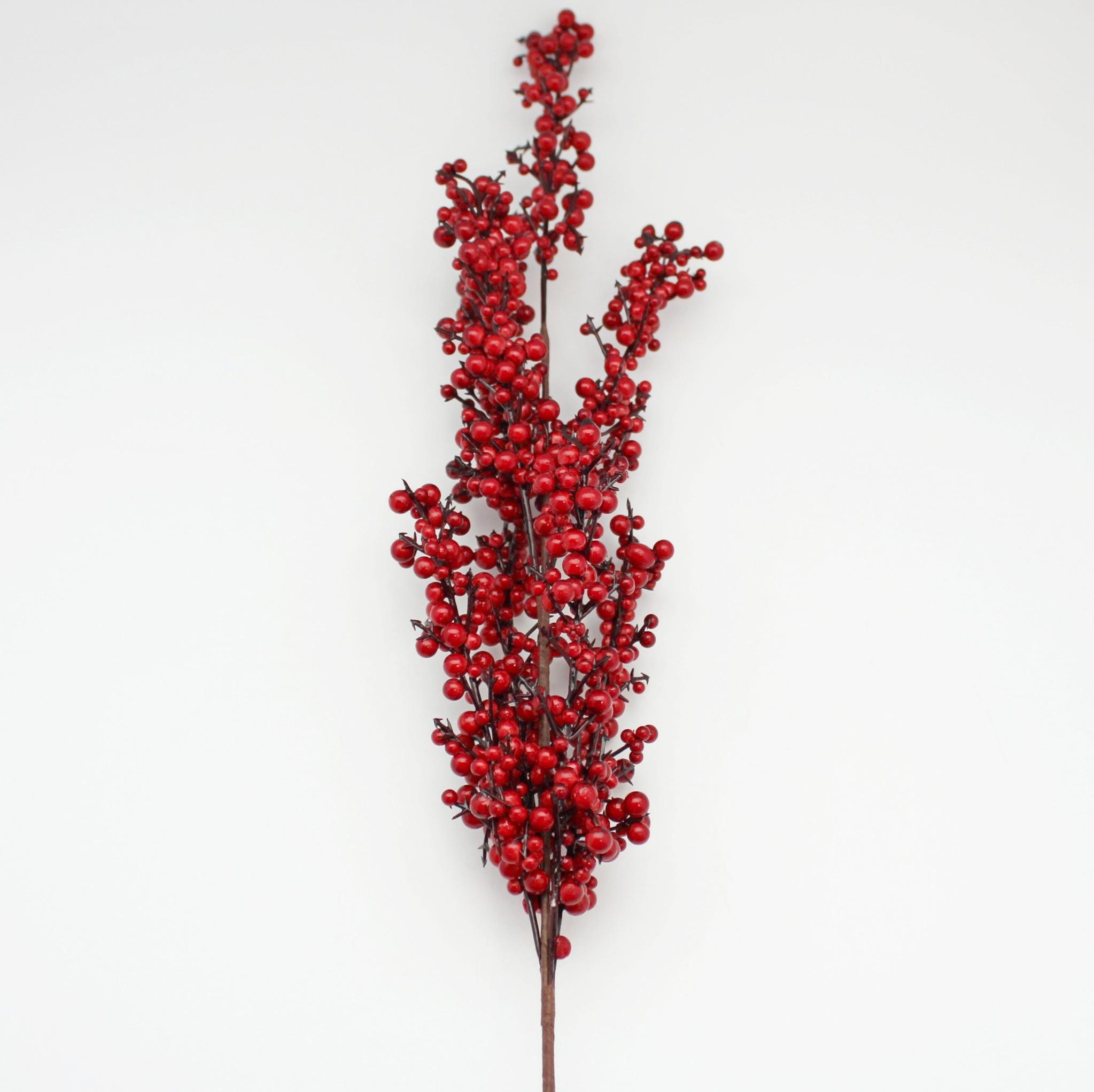 Větev bobule umělá 65cm červená