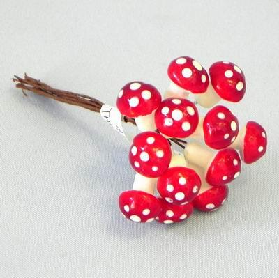 Zápich přízdoba muchomůrka pr.1,5cm S/12 červená