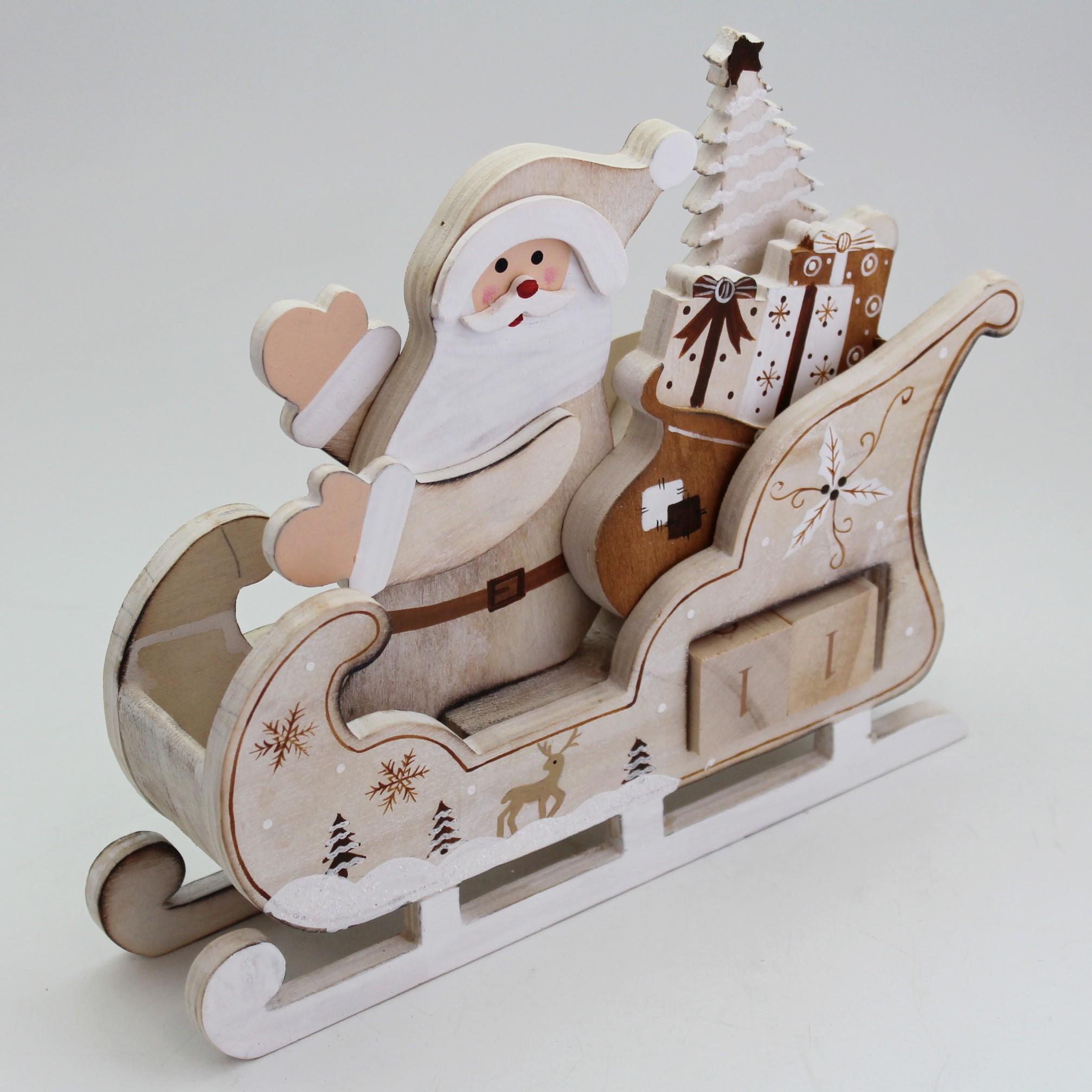 Santa kalendář dřevo 15x13,5cm