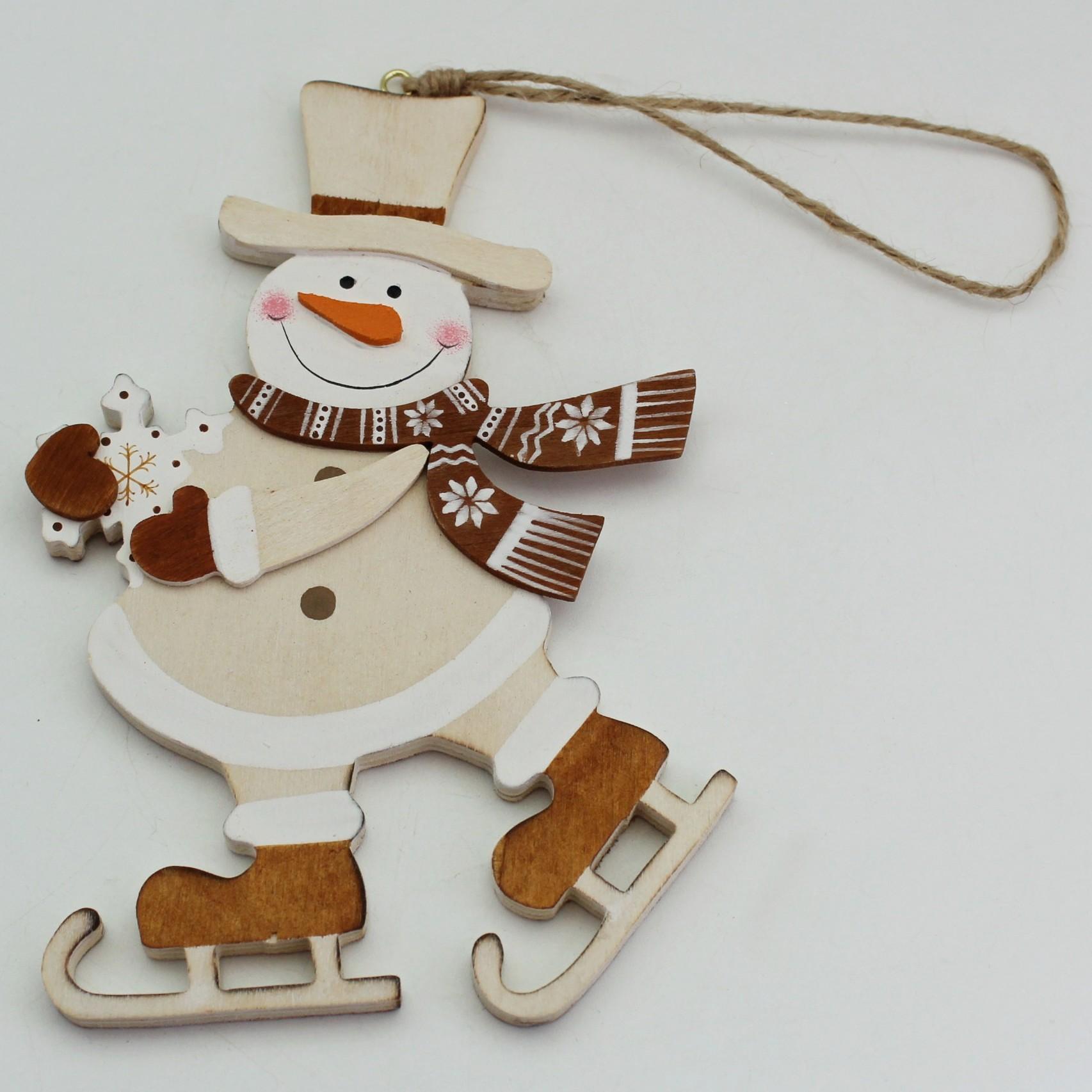 Sněhulák závěs dřevo/juta 12cm