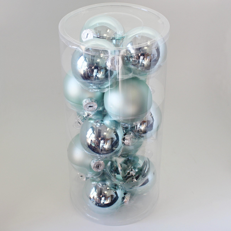 Vánoční baňky sklo 8cm/15ks mint