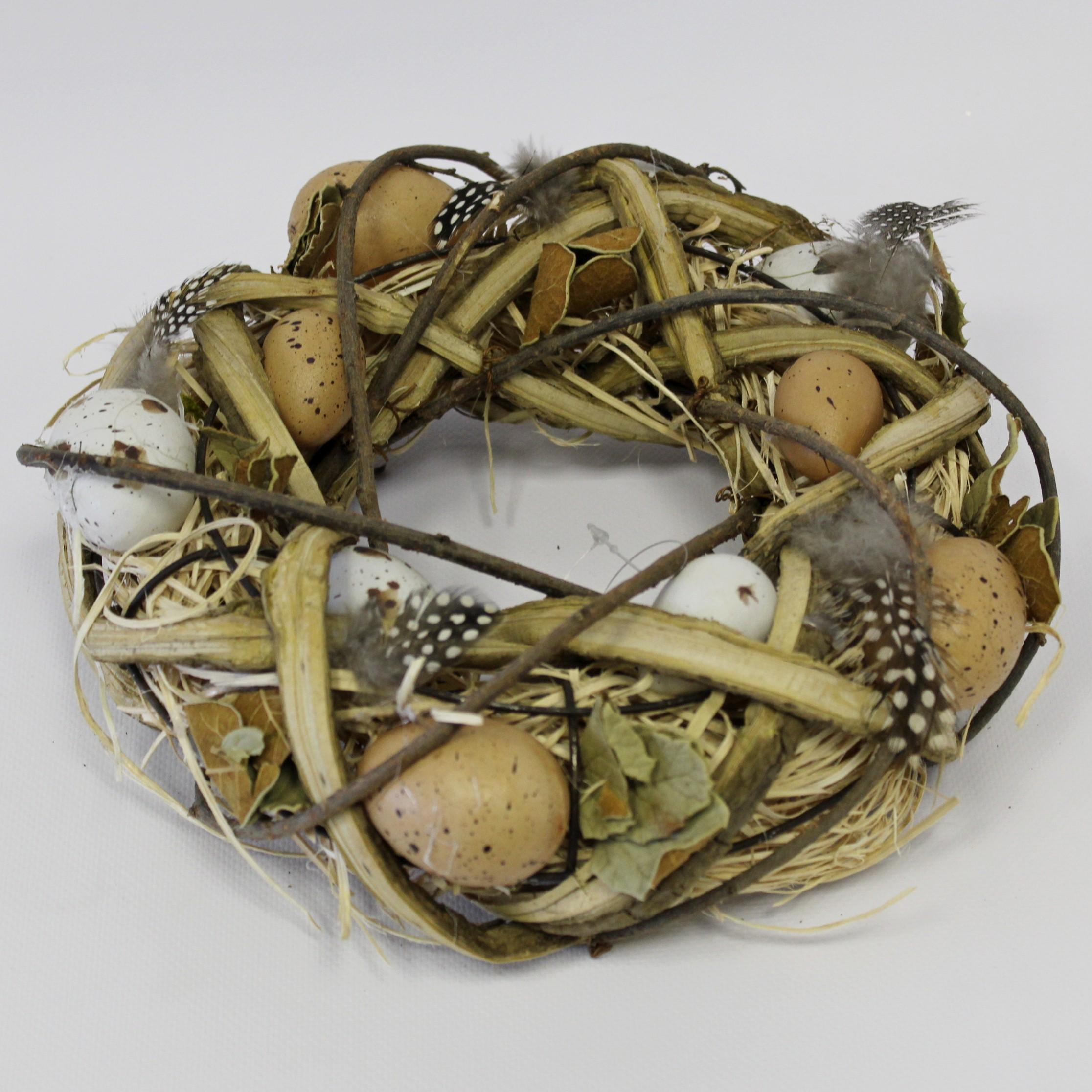 Věnec vajíčka/proutí 25cm natural