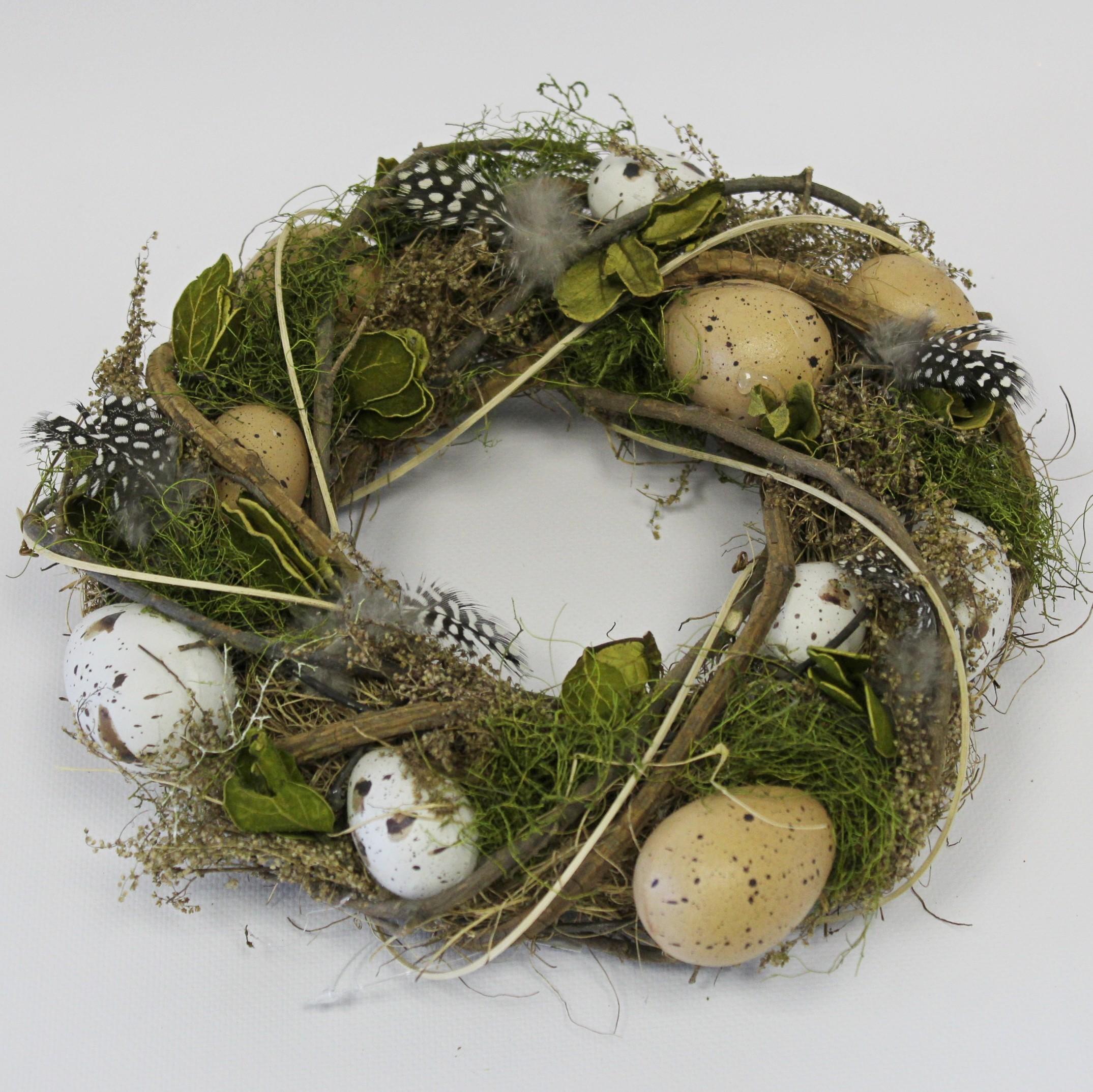 Věnec vajíčka/proutí 25cm natural/zelená