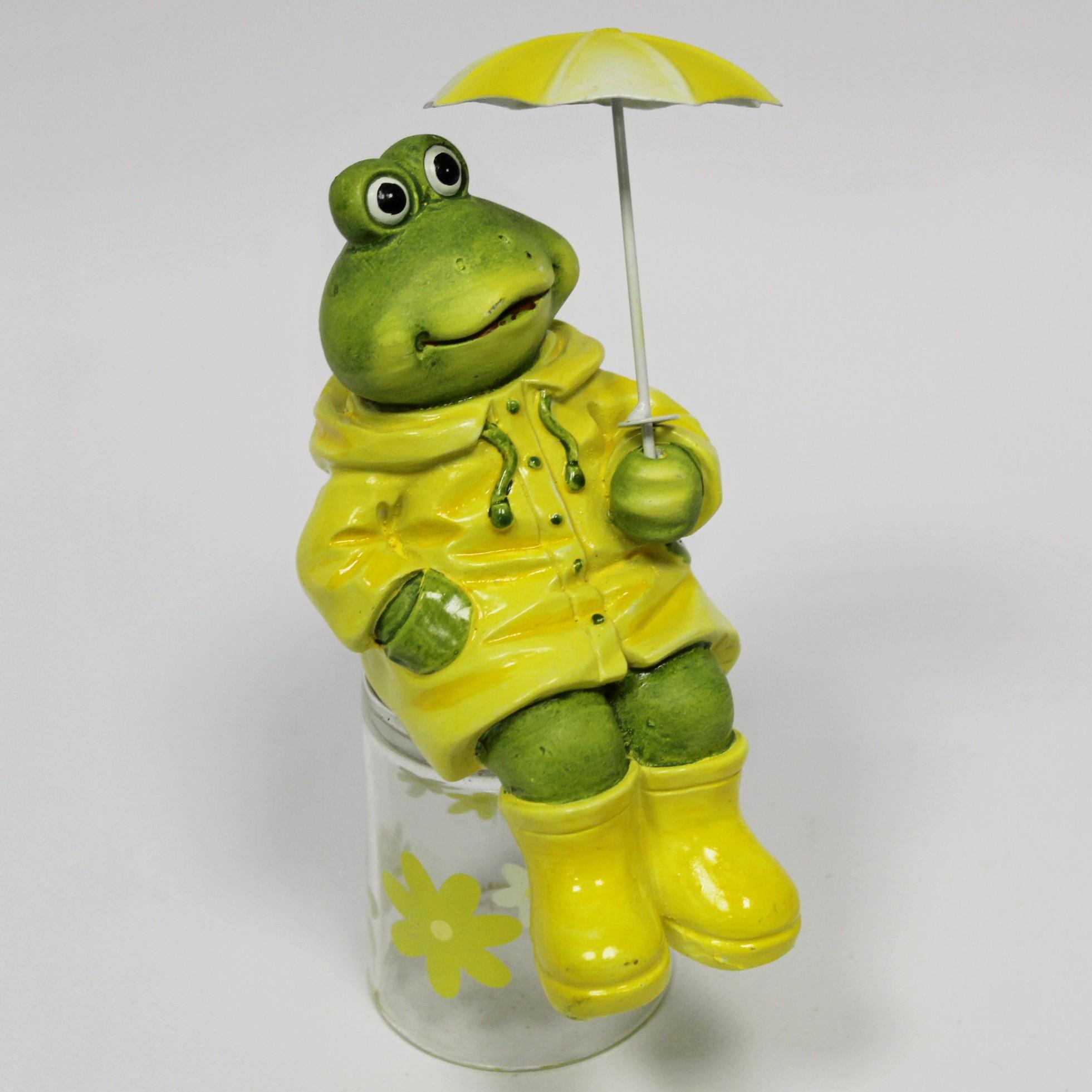 Žába s deštníkem keramika/kov 13cm