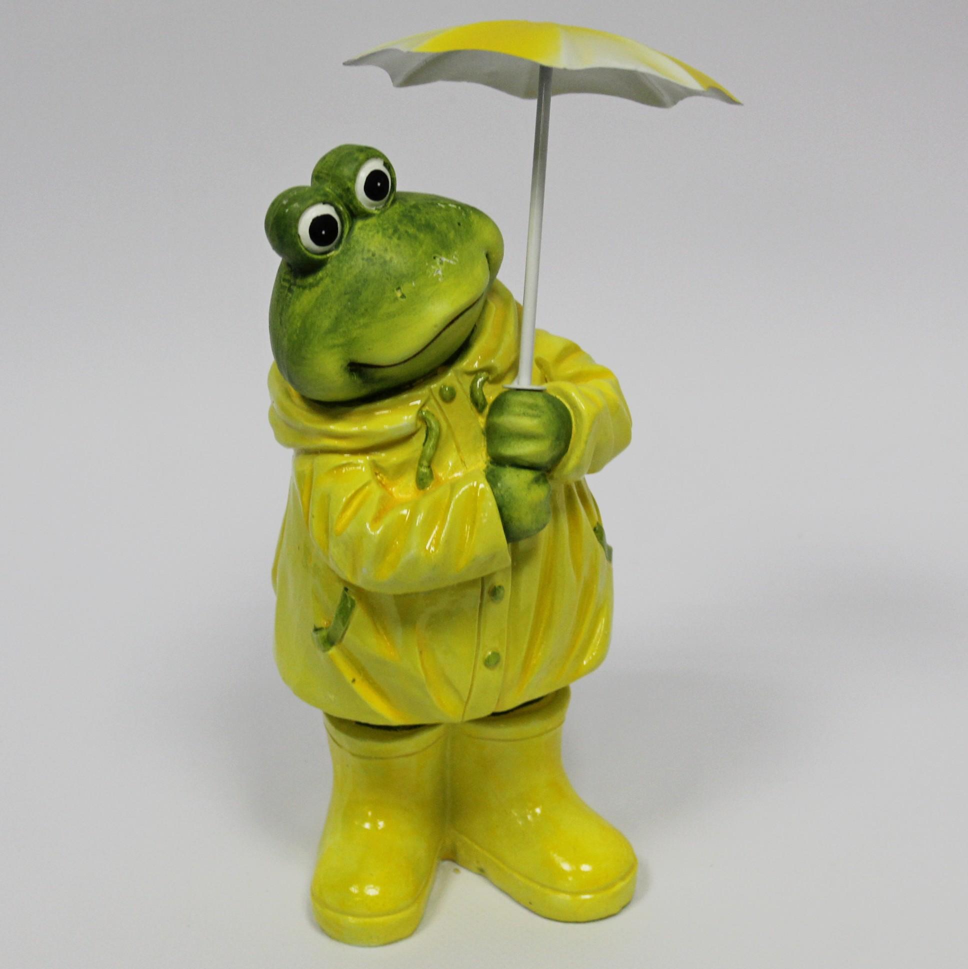 Žába s deštníkem keramika/kov 20cm