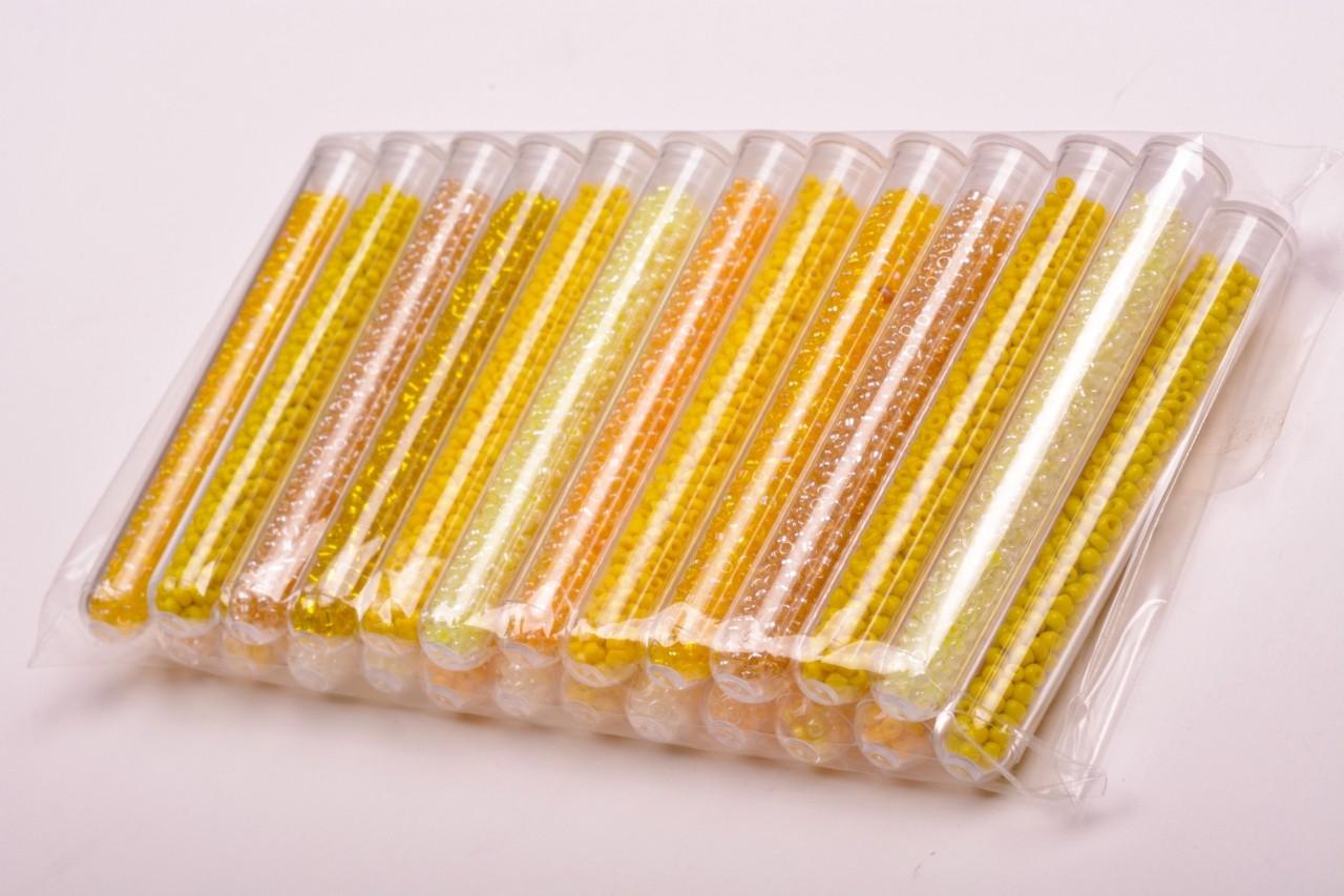 Korálky skleněné rokajl v tubě 6g odstíny žluté 24 ks/bal.