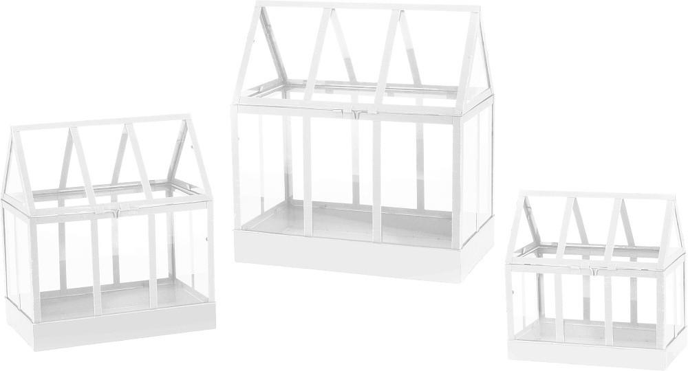 Kovový dekorativní skleník bílý, sada 3 ks