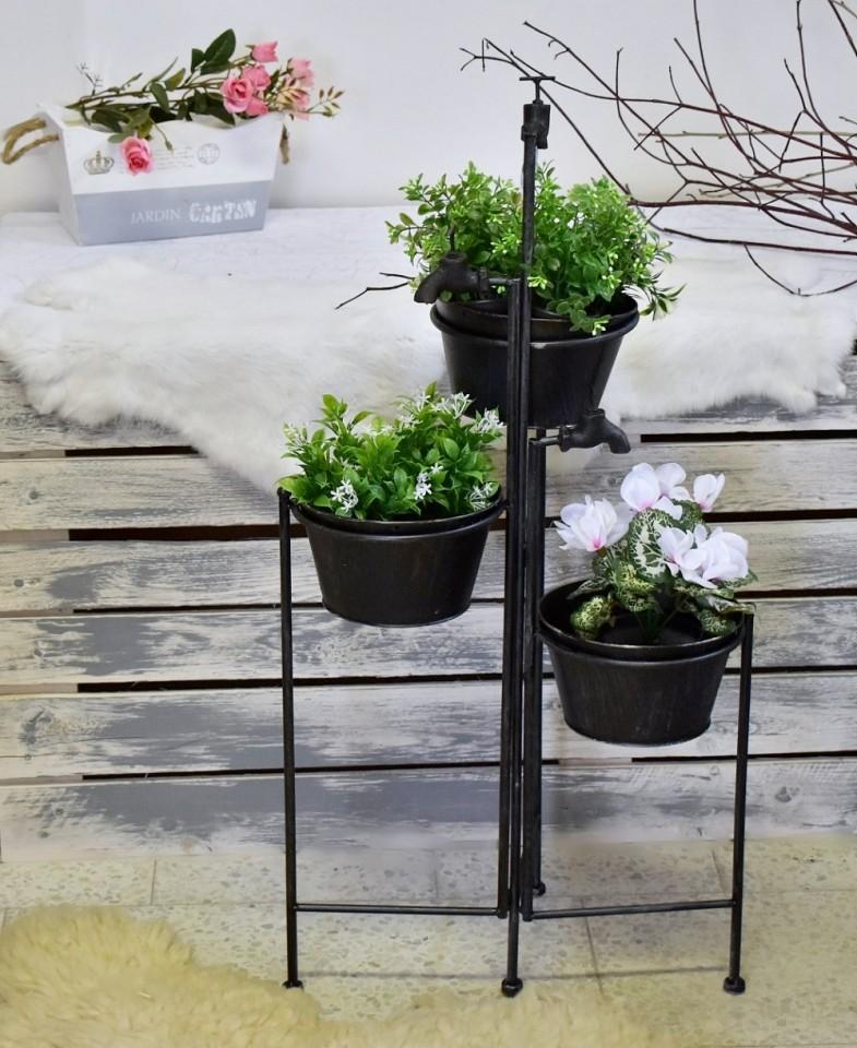 Stojan na květiny černý s patinou 90 cm