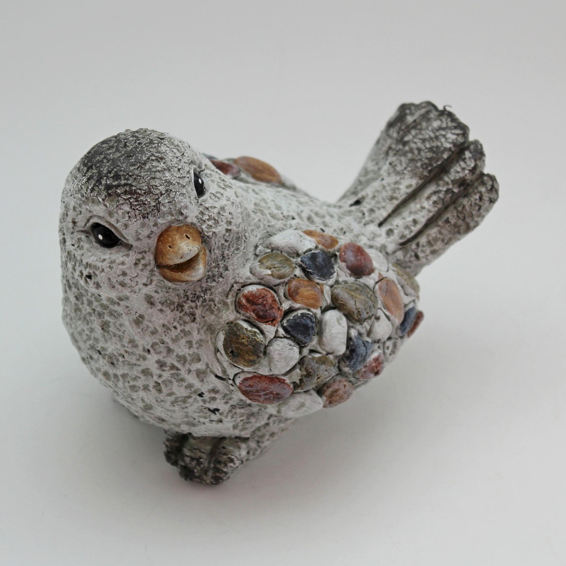 Ptáček kamínky polyresin 14cm