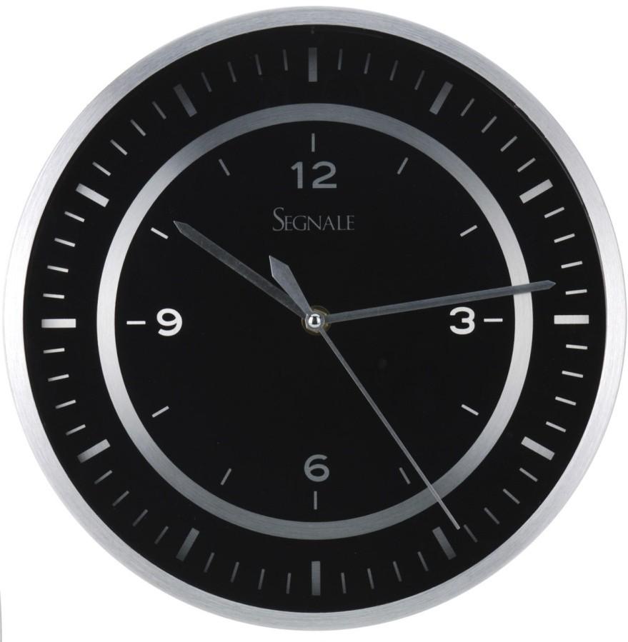 Hliníkové nástěnné hodiny černé 30 cm