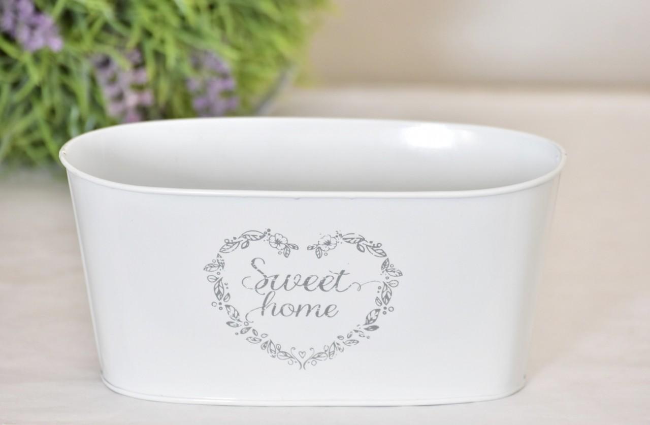 Plechový květináč Sweet home 21,5x11,5 cm