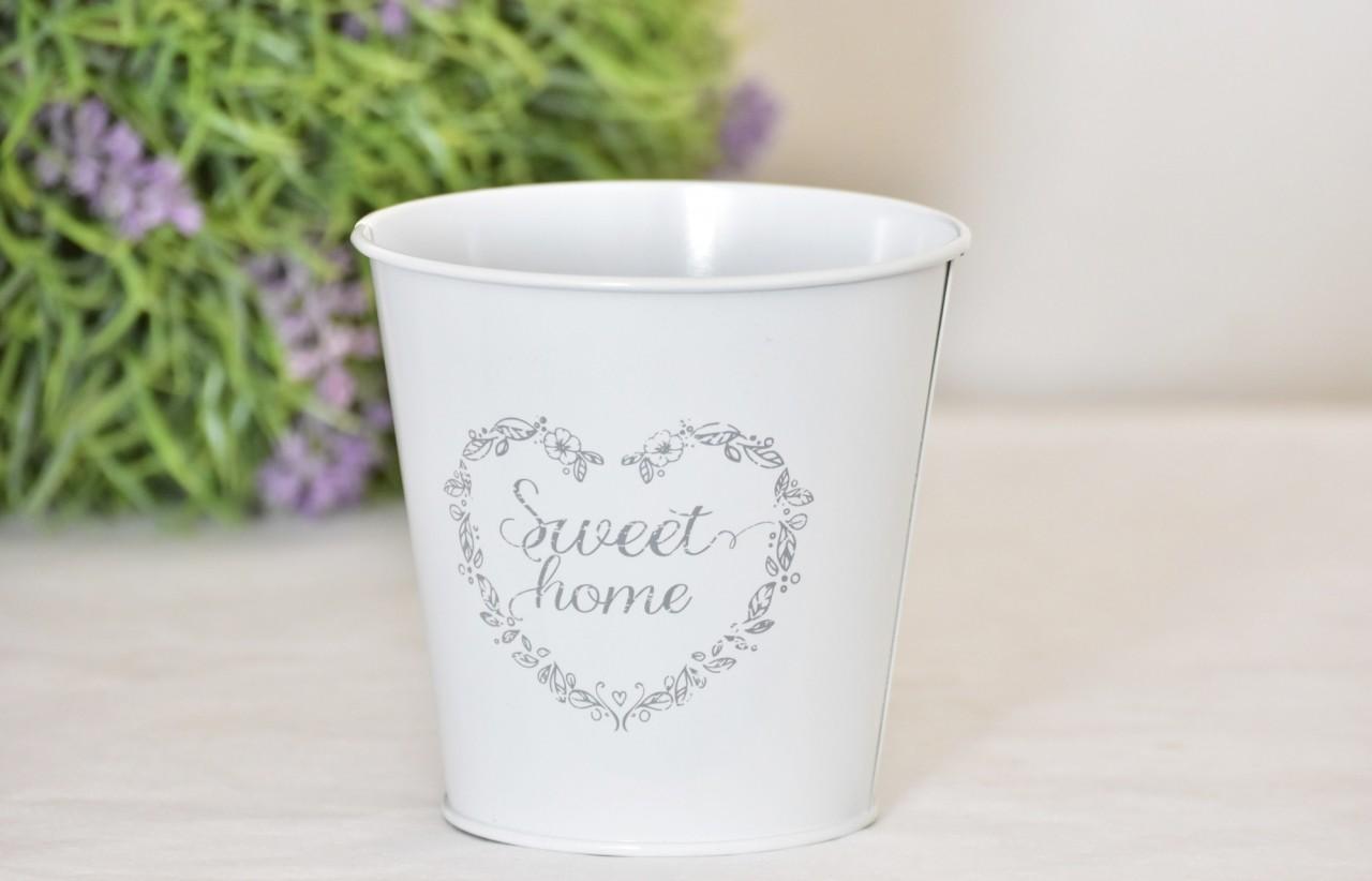 Plechový květináč Sweet home 12,5 cm