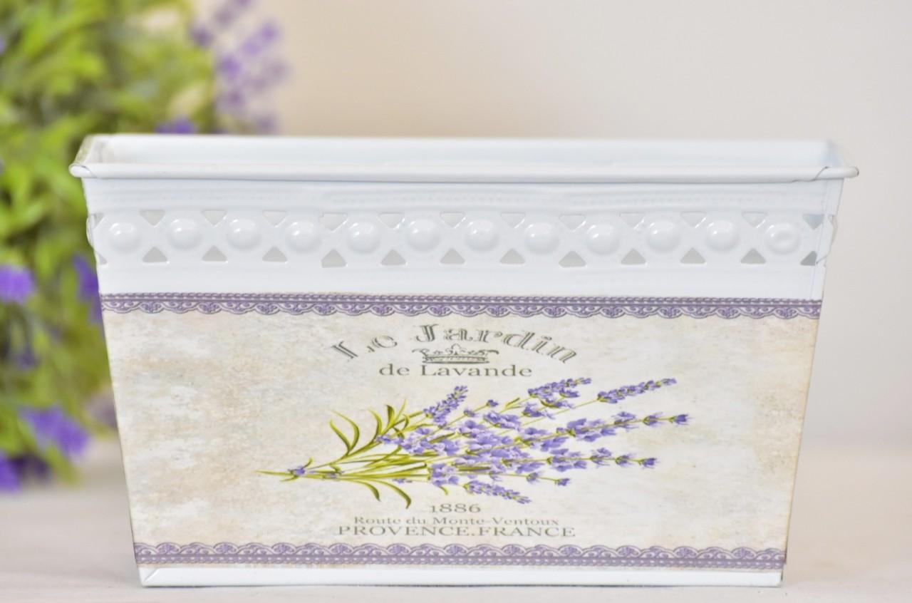 Plechový květináč Lavande 18x11 cm