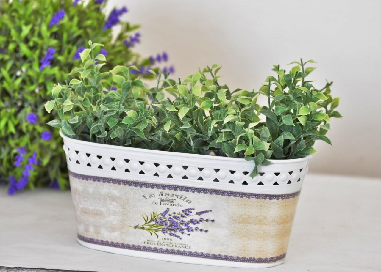 Plechový květináč Lavande 19x10 cm