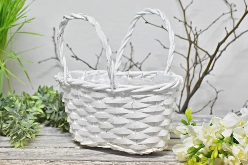 Proutěný košík bílý 26x17 cm