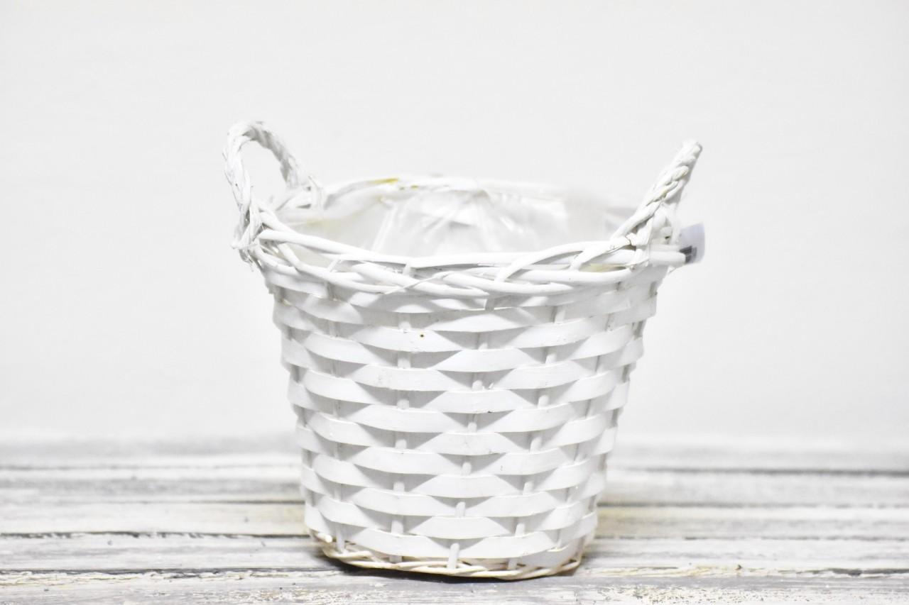 Proutěný košík bílý 19 cm