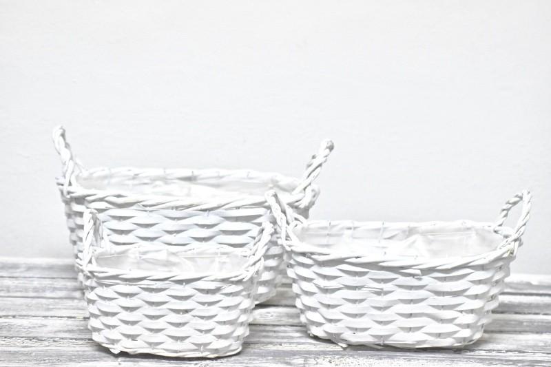 Proutěný košík bílý sada 3 ks