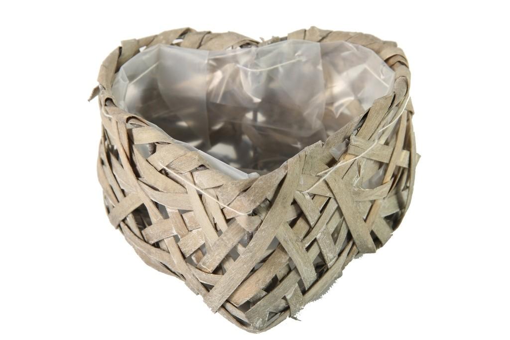 Proutěný košík srdce šedé S