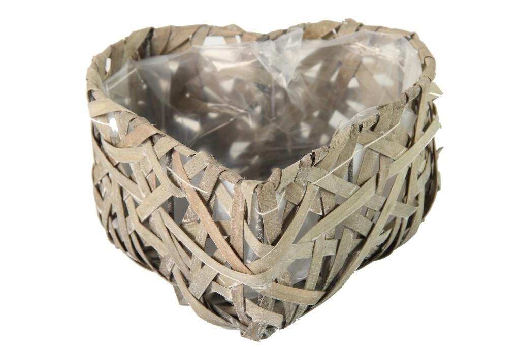 Proutěný košík srdce šedé M