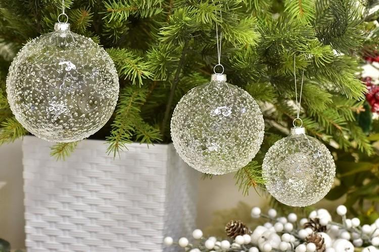 Skleněná vánoční baňka - S