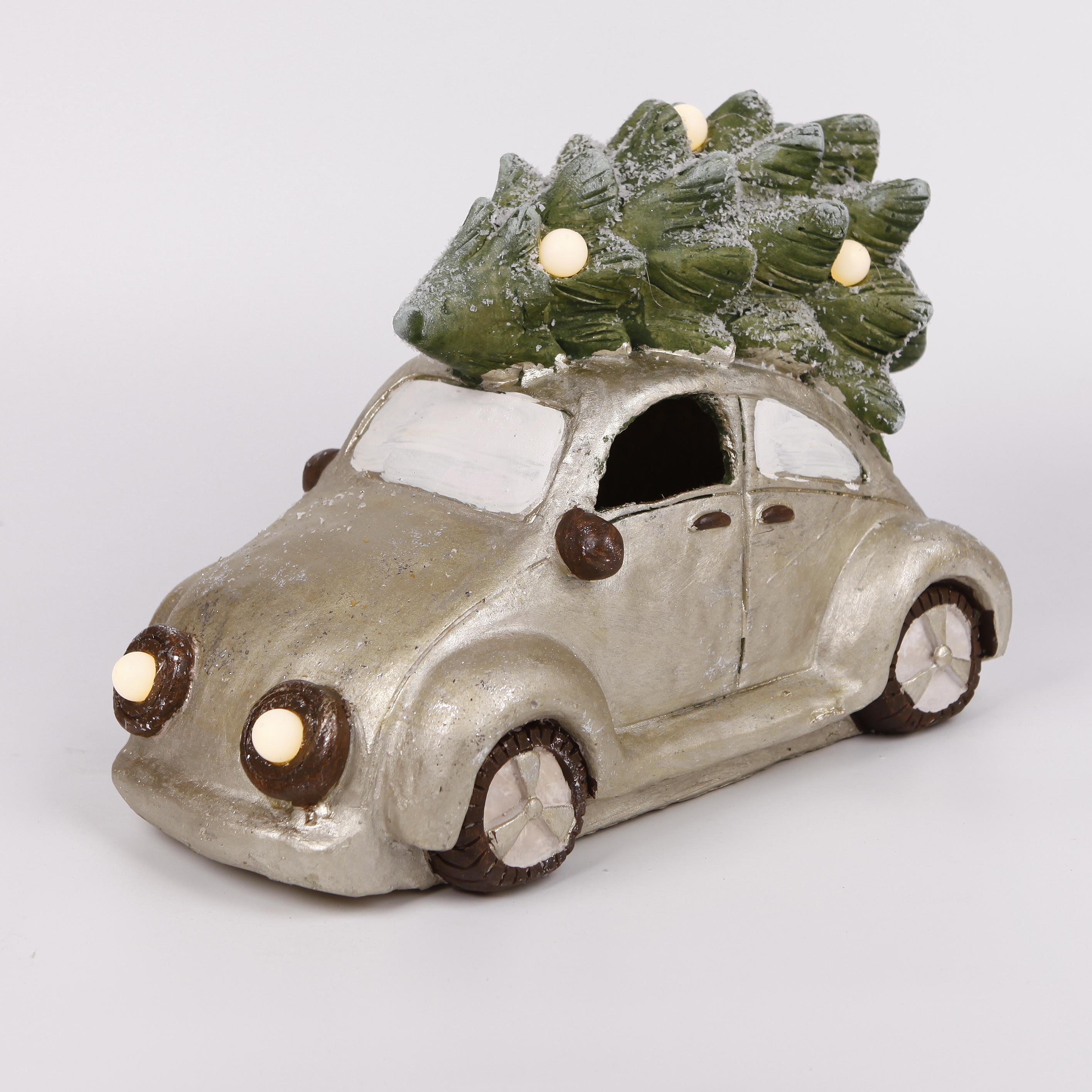 Auto vánoční keramika LED světla 39x28cm (KR606-87052)