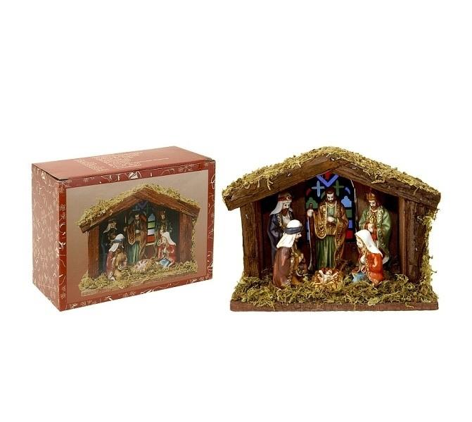 Vánoční betlém s osvětlením, 6 figurek