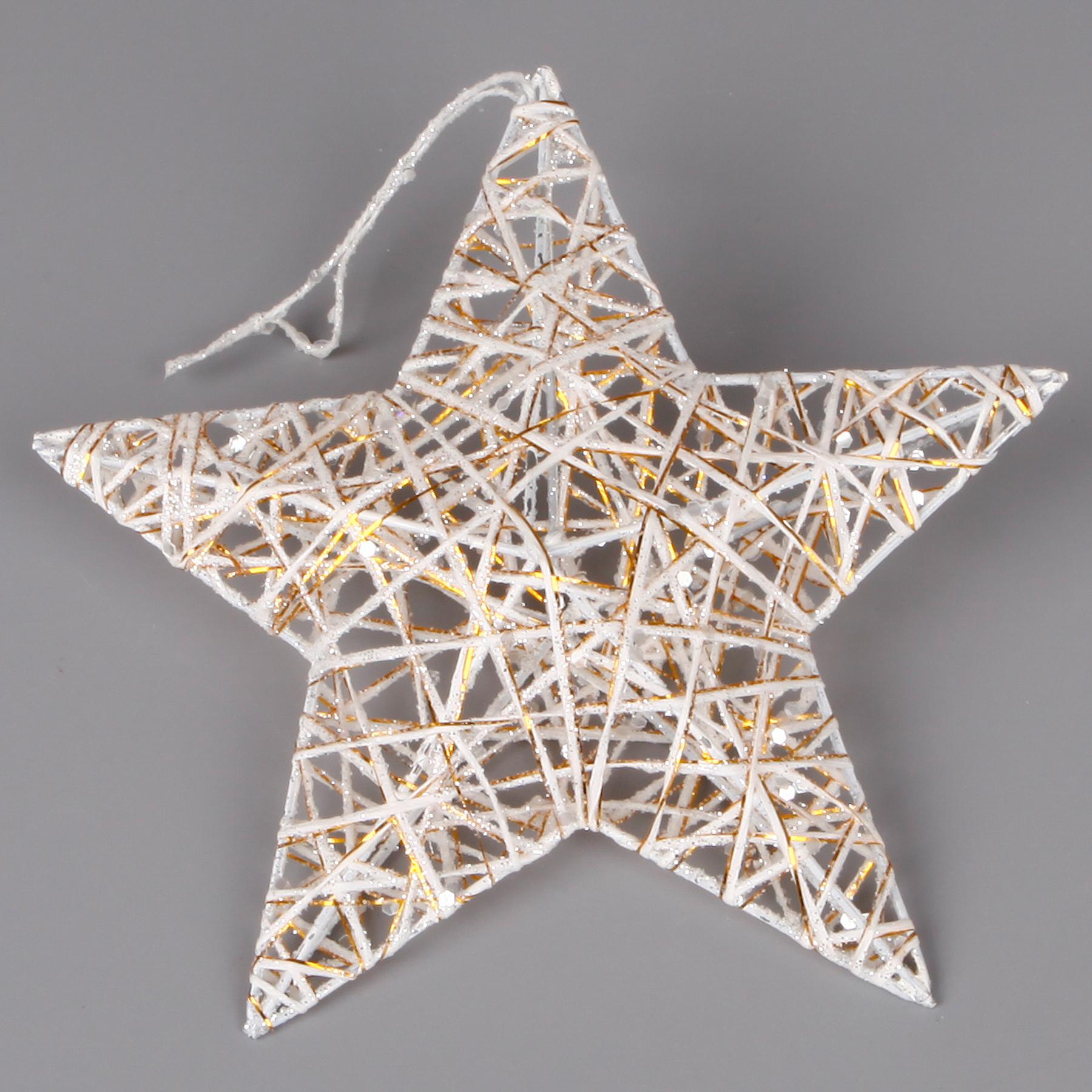 3D hvězda závěs provaz/kov 15cm bílá/zlatá gliter