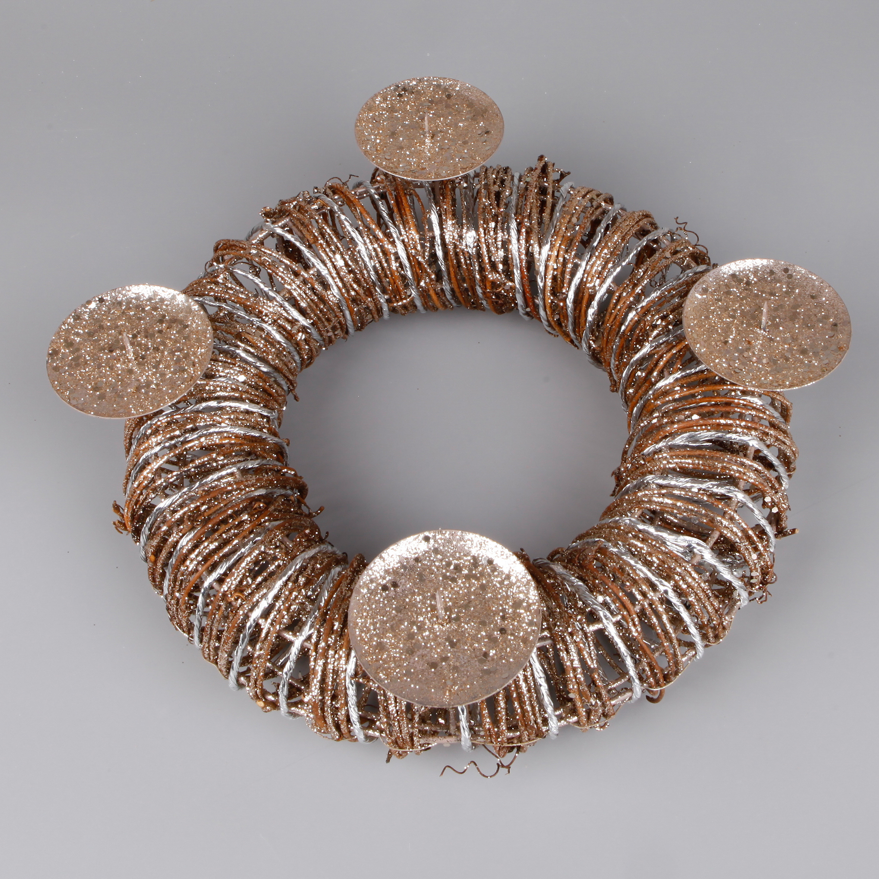 Advent.svícen kruh proutí 24cm bronz gliter