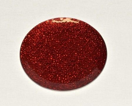 Skleněný tác 20 cm, červený mražený